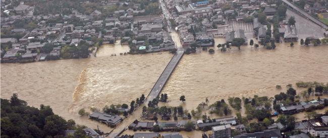 平成25年台風18号による水害の様子