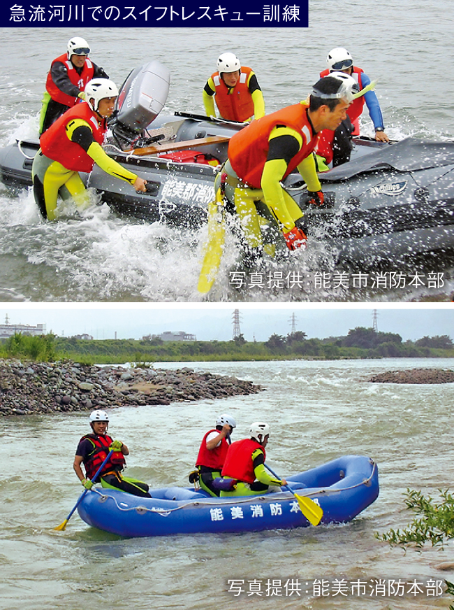 急流河川でのスイフトレスキュー訓練