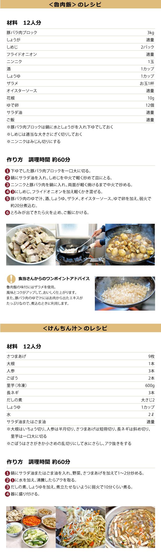 魯肉飯のレシピ、けんちん汁のレシピ